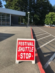 Shuttle service ran every 15 minutes from the high schools to the Arts Festival at Lakewood Center and George Rogers Par